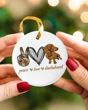 Dachshund Peace Love Circle ornament - single (porcelain) aos-circle-ornament-single-porcelain-lifestyles-08