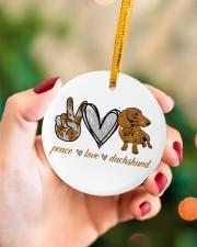Dachshund Peace Love Circle ornament - single (porcelain) aos-circle-ornament-single-porcelain-lifestyles-09