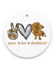 Dachshund Peace Love Circle ornament - single (porcelain) front