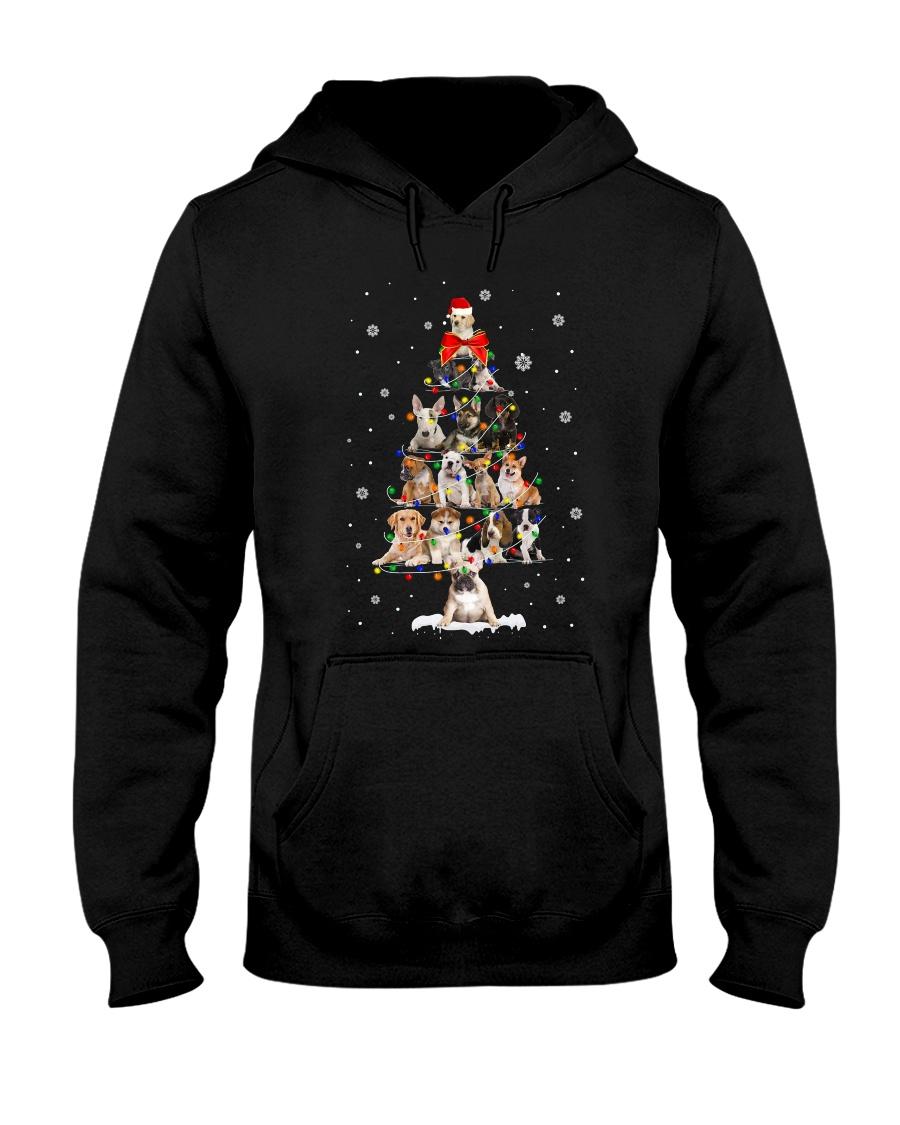Dogs Christmas Tree Hooded Sweatshirt