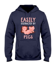 Easily Distracted By Pigs Hooded Sweatshirt front