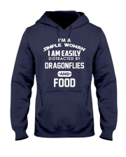 I am easily distracted by dragonflies and food Hooded Sweatshirt front