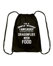 I am easily distracted by dragonflies and food Drawstring Bag thumbnail
