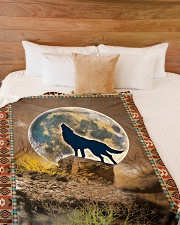 "Wolf Funny Howling At The Moon Graphic Design Large Fleece Blanket - 60"" x 80"" aos-coral-fleece-blanket-60x80-lifestyle-front-02"