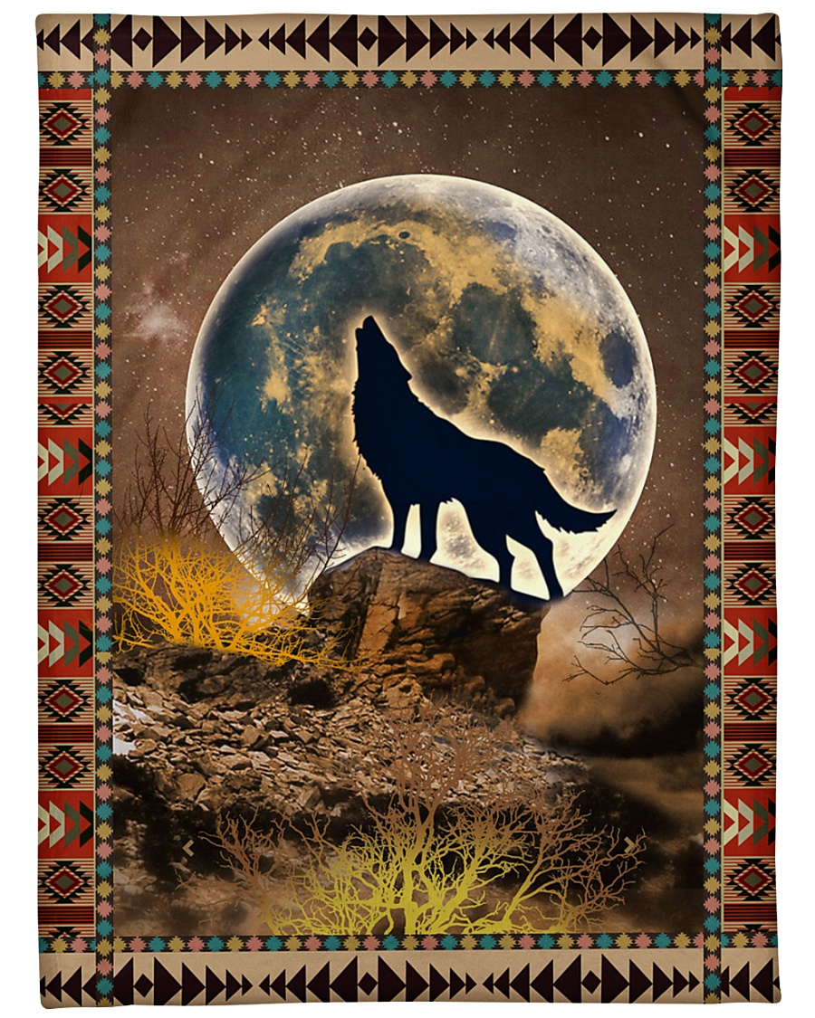 """Wolf Funny Howling At The Moon Graphic Design Large Fleece Blanket - 60"""" x 80"""""""
