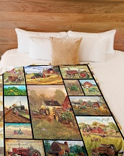 """Tractor Funny Blanket Farmer Graphic Design Large Fleece Blanket - 60"""" x 80"""" aos-coral-fleece-blanket-60x80-lifestyle-front-02"""