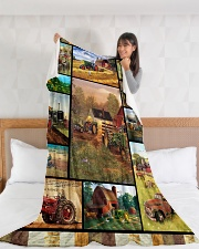 """Tractor Funny Blanket Farmer Graphic Design Large Fleece Blanket - 60"""" x 80"""" aos-coral-fleece-blanket-60x80-lifestyle-front-11"""