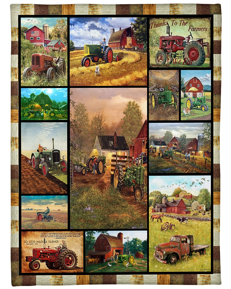 "Tractor Funny Blanket Farmer Graphic Design Large Fleece Blanket - 60"" x 80"""