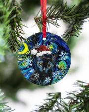 Black Cat Art Starry Night Circle ornament - single (porcelain) aos-circle-ornament-single-porcelain-lifestyles-07
