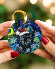 Black Cat Art Starry Night Circle ornament - single (porcelain) aos-circle-ornament-single-porcelain-lifestyles-08