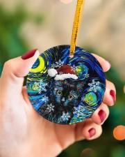 Black Cat Art Starry Night Circle ornament - single (porcelain) aos-circle-ornament-single-porcelain-lifestyles-09