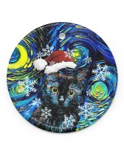 Black Cat Art Starry Night Circle ornament - single (porcelain) front