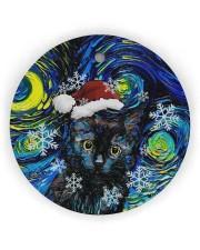 Black Cat Art Starry Night Circle Ornament (Wood tile