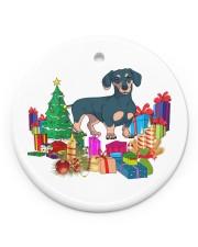 Dachshund Xmas Gift Circle ornament - single (porcelain) front