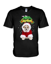Akita Merry Xmas V-Neck T-Shirt thumbnail