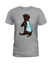 Chocolate Labrador I Love Mom Tattoo Ladies T-Shirt thumbnail