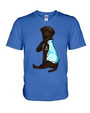 Chocolate Labrador I Love Mom Tattoo V-Neck T-Shirt thumbnail