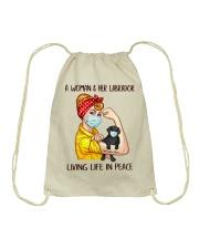 Labrador Balck Living Life In Peace Drawstring Bag thumbnail