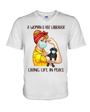 Labrador Balck Living Life In Peace V-Neck T-Shirt thumbnail