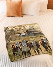 "Cow Together Is My Favorite Place Graphic Design Small Fleece Blanket - 30"" x 40"" aos-coral-fleece-blanket-30x40-lifestyle-front-01"