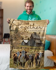 "Cow Together Is My Favorite Place Graphic Design Small Fleece Blanket - 30"" x 40"" aos-coral-fleece-blanket-30x40-lifestyle-front-09"