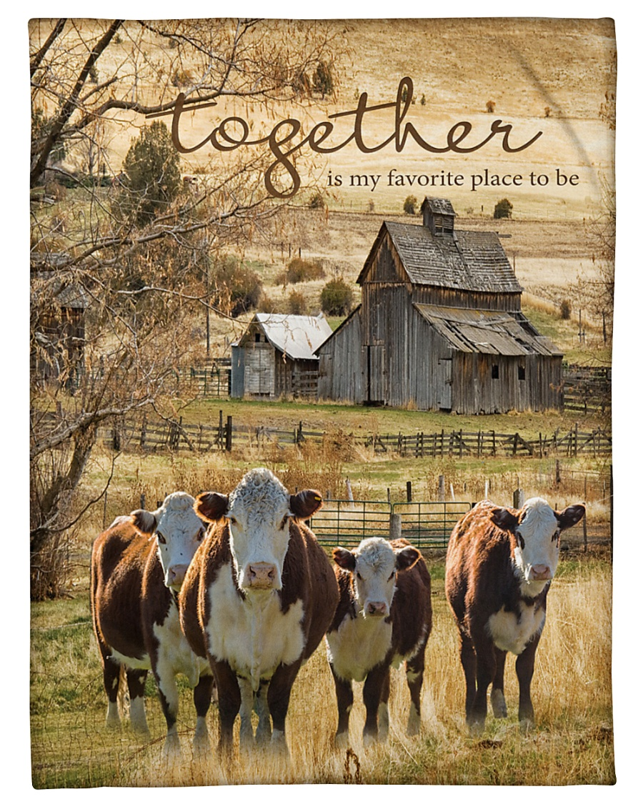 "Cow Together Is My Favorite Place Graphic Design Small Fleece Blanket - 30"" x 40"""