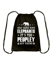 Stay Home With Elephants Drawstring Bag thumbnail