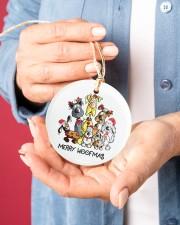 Dog Merry Woofmas Circle ornament - single (porcelain) aos-circle-ornament-single-porcelain-lifestyles-01
