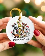 Dog Merry Woofmas Circle ornament - single (porcelain) aos-circle-ornament-single-porcelain-lifestyles-08