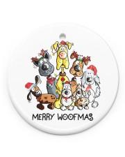 Dog Merry Woofmas Circle ornament - single (porcelain) front