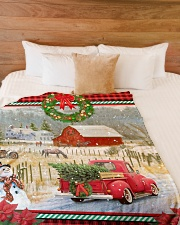 "HORSE CHRISTMAS BLANKET Large Fleece Blanket - 60"" x 80"" aos-coral-fleece-blanket-60x80-lifestyle-front-02"