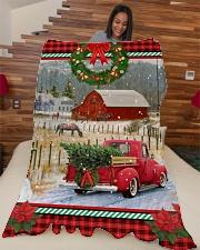 "HORSE CHRISTMAS BLANKET Large Fleece Blanket - 60"" x 80"" aos-coral-fleece-blanket-60x80-lifestyle-front-04"