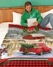 "HORSE CHRISTMAS BLANKET Large Fleece Blanket - 60"" x 80"" aos-coral-fleece-blanket-60x80-lifestyle-front-06"