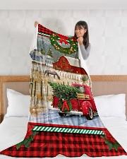 "HORSE CHRISTMAS BLANKET Large Fleece Blanket - 60"" x 80"" aos-coral-fleece-blanket-60x80-lifestyle-front-11"