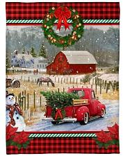 "HORSE CHRISTMAS BLANKET Large Fleece Blanket - 60"" x 80"" front"