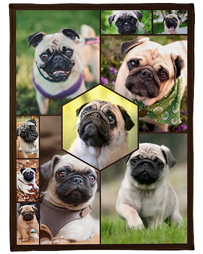 Pug Funny Blanket Faces Graphic Design