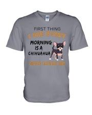 Chihuahua -First thing V-Neck T-Shirt thumbnail