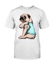 Pug I Love Mom Classic T-Shirt front