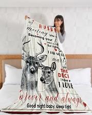 "Deer Wife To My Husband Graphic Design Large Fleece Blanket - 60"" x 80"" aos-coral-fleece-blanket-60x80-lifestyle-front-11"