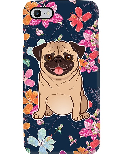 Pug Happy Flower Phone Case