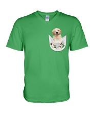 Golden Retriever Inside Pocket  V-Neck T-Shirt thumbnail