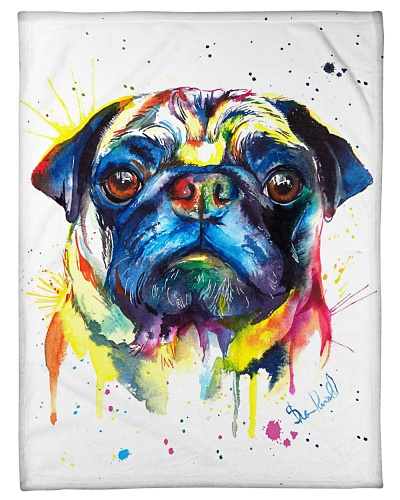 Pug Funny Blanket Color Graphic Design