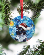 Cat Tuxedo Cat Art Starry Night Circle ornament - single (porcelain) aos-circle-ornament-single-porcelain-lifestyles-07