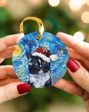 Cat Tuxedo Cat Art Starry Night Circle ornament - single (porcelain) aos-circle-ornament-single-porcelain-lifestyles-08