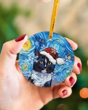 Cat Tuxedo Cat Art Starry Night Circle ornament - single (porcelain) aos-circle-ornament-single-porcelain-lifestyles-09