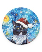 Cat Tuxedo Cat Art Starry Night Circle ornament - single (porcelain) front