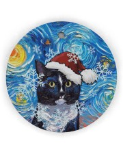 Cat Tuxedo Cat Art Starry Night Circle Ornament (Wood tile