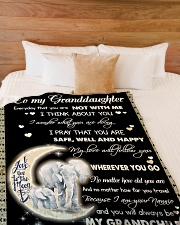 """Elephant To My Granddaughter Blanket Large Fleece Blanket - 60"""" x 80"""" aos-coral-fleece-blanket-60x80-lifestyle-front-02"""
