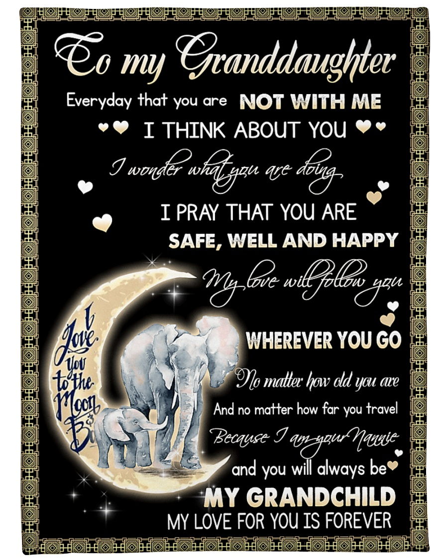 "Elephant To My Granddaughter Blanket Large Fleece Blanket - 60"" x 80"""