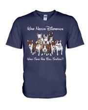 bull terrier diamonds V-Neck T-Shirt thumbnail